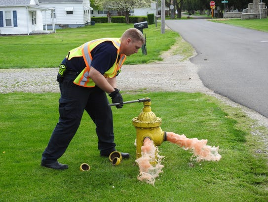 Regular testing of the city's fire hydrants ensures