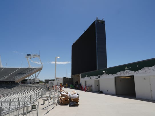 The scoreboard above the south end zone at CSU's new