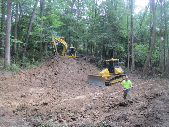 Work this week on one of two wetlands constructed by