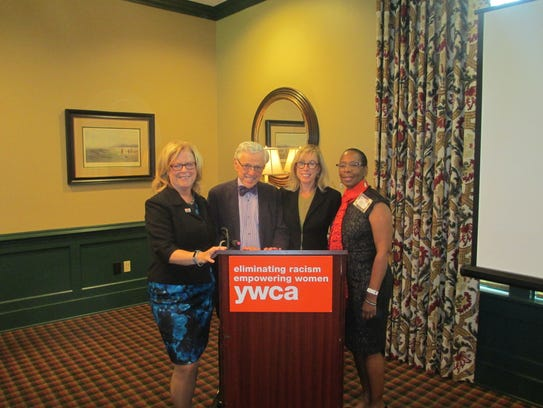 J. Robert Hillier with (from left) YWCA Princeton CEO