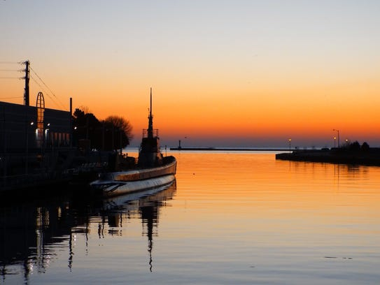 Untitled photo of the USS Cobia at sunset in Manitowoc.