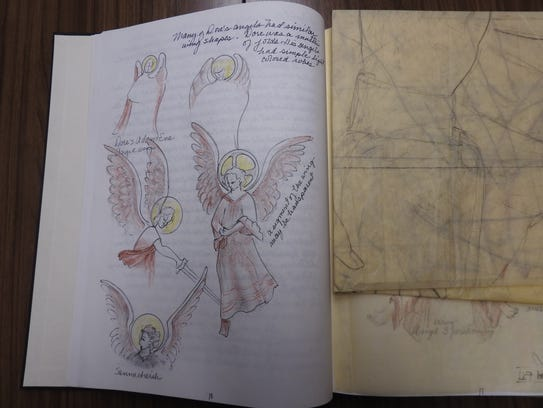 Irene Baron's early sketches for the tapestry featured lots of angels, but she ultimately decided on a portrait of Joseph, Mary and Jesus.