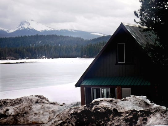Lemolo Lake boathouse has view sacross reservoir of