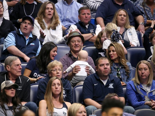 Xavier Musketeers fan and actor Bill Murray entertains