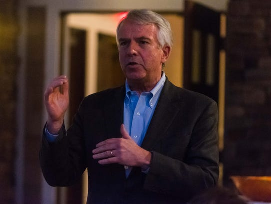 Somerville resident Robert Hugin, who is running for U.S. Senate, speaks at the Cumberland County GOP Convention at Eastlyn Golf Course on Tuesday night. Hugin received the organization's endorsement for the June primary election.