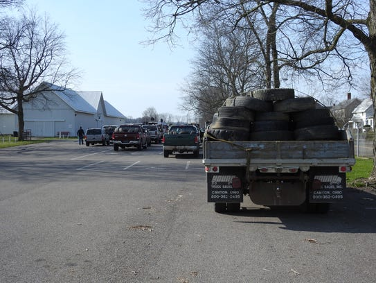 About 3,000 tires were collected Friday at the Coshocton