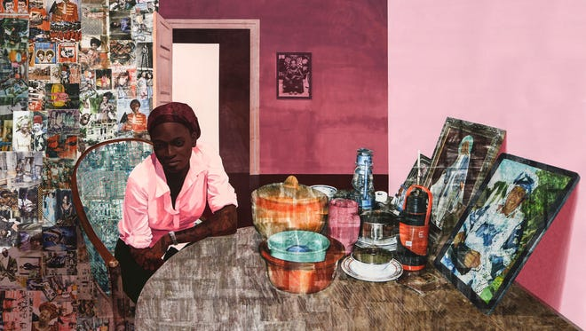 Njideka Akunyili Crosby, Mama, Mummy and Mamma (Predecessors #2), 2014. Image courtesy of the Artist and Victoria Miro Gallery.