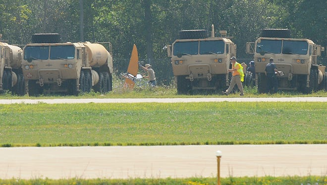 A Breezy crashed on the other side of the 36 runway July 31, 2014 at AirVenture.  Two people were injured in the accident crash.