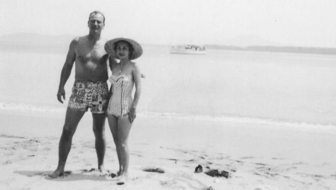 John Wayne with wife Pilar in Panama. The couple married in 1954, and were together until the actor's death in 1979.