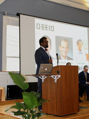 Hillman Accelerator founder and former Cincinnati Bengals linebacker Dhani Jones speaks at the launch event at Union Hall. Jones' Qey Capital in an investor in Hillman.