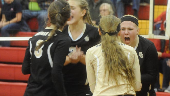 Buffalo Gap's players cheer a point during their 3-1 win  over Goochland in Thursday's 2A East regional semifinals/