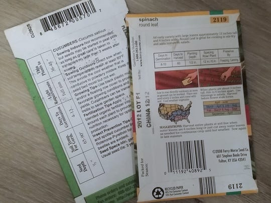 Seed packets should indicate how far apart to space the seeds in rows and what time of year to sow.