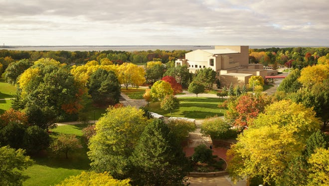 A view of the bay and fall foliage from the 8th floor of the Cofrin Library at the University of Wisconsin-Green Bay.