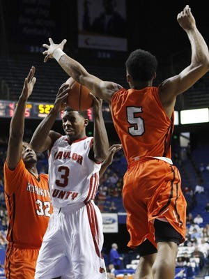Taylor County's Quentin Goodin faced Hopkinsville in the first round of the KHSAA Boys Sweet 16 at Rupp Arena, March 18, 2015