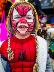 Zachary Beckett appeared as Spider Man at the Pleasant Hill Trick or Treat Around the Lake.