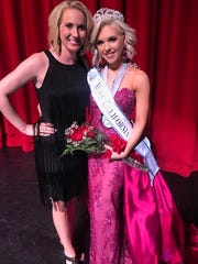 Tara Broderick of Visalia won the Miss California title in the International Junior Miss Scholarship pageant. She stands next to her coach, Kari Volen.