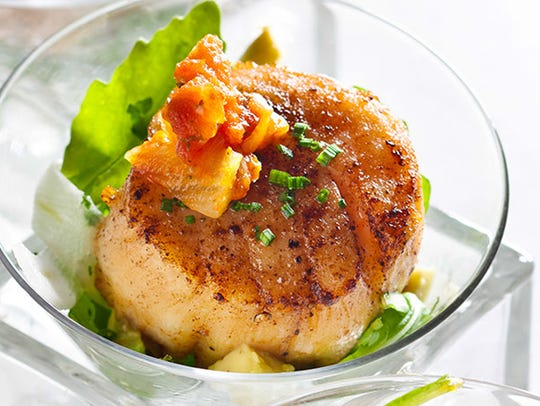 Scallops on a roasted pineapple salsa at Pairings in