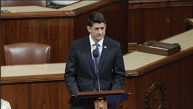 Speaker Paul Ryan addresses members of the House on Wednesday about the shooting of a congressman and congressional aides at a baseball practice.