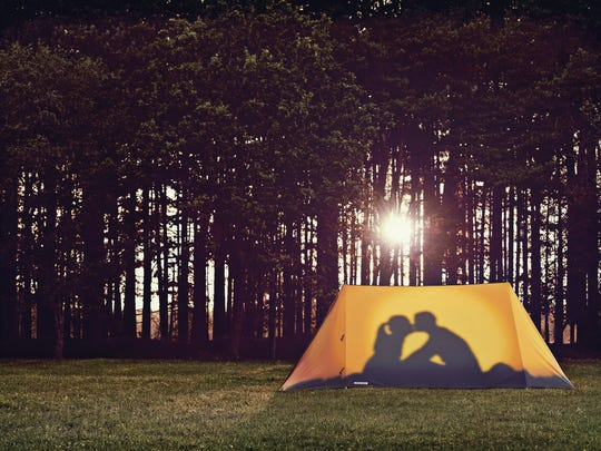 TThe U.K.-based company Field Candy shows their silhouette couple kissing themed tent design. The company is known for its interesting and unusual tent designs.