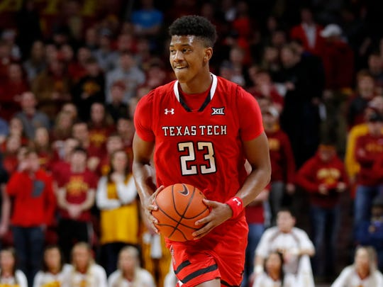 Texas Tech guard Jarrett Culver smiles at the end of an NCAA college basketball game against Iowa State, Saturday, March 9, 2019, in Ames, Iowa. Texas Tech won 80-73. (AP Photo/Charlie Neibergall)