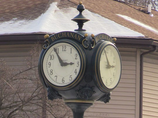 The Buchanan town clock in the middle of the rotary.