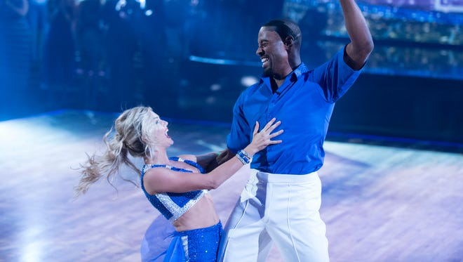 """Ex-Lion Calvin Johnson with partner Lindsay Arnold on """"Dancing with the Stars"""" on Monday night."""