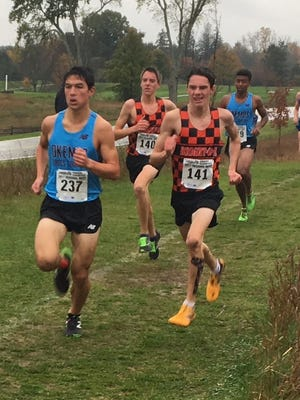 Brighton's Zachary Stewart (141) and Jack Spamer (141) have the top two cross country times in Livingston County this season.