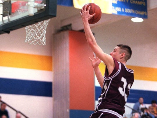 Toms River South's Charlie Frazier drives to the basket