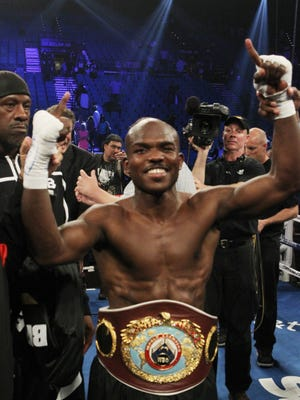 Timothy Bradley Jr. is all smiles after winning the WBO Welterweight title against Manny Pacquiao at the MGM Grand Garden Arena on June 9, 2012. Bradley fights Jessie Vargas, and the winner will get the now-vacant WBO welterweight belt.