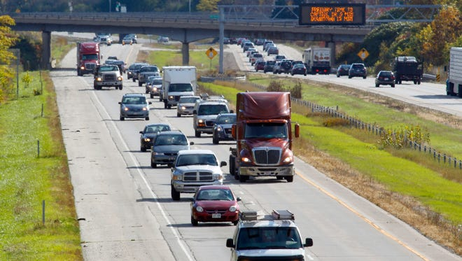 Traffic travels in the northbound lane along Highway 43 just south of Donges Bay Rd. in Ozaukee County in October 2013.