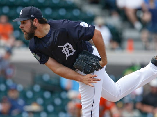 Feb 24, 2017; Lakeland, FL, USA; Detroit Tigers starting pitcher Michael Fulmer throws a pitch during the first inning of a spring training game against the Baltimore Orioles at Joker Marchant Stadium.