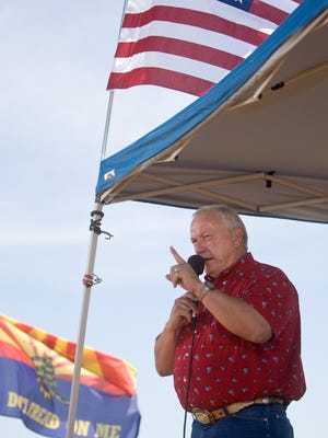 Former Arizona state senator  Russell Pearce at a Tea Party rally at the border a few years back.