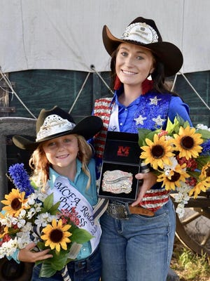 Karlyn Ryan of Canton, left, was named rodeo princess while Katie Farney of Arlington was named rodeo queen at the McPherson County Fair rodeo.