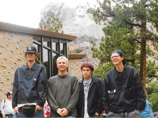 """Wilmington hardcore band Railhed stop at Mount Rushmore while on tour in 1992. Nick Rotundo (second from right) posted the photo on Facebook three years ago with the joking caption, """"I look like I was having a good time."""""""