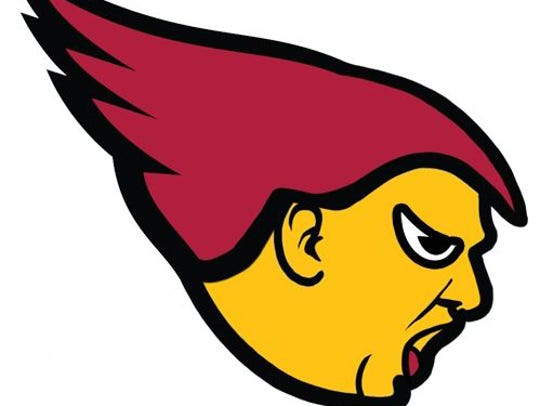 Donald Trump as a Cardinals logo.