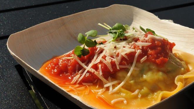 Ricotta and Zucchini Ravioli with Rustic Tomato Sauce at the Sustainable Chew at the 2015 Epcot International Food & Wine Festival.