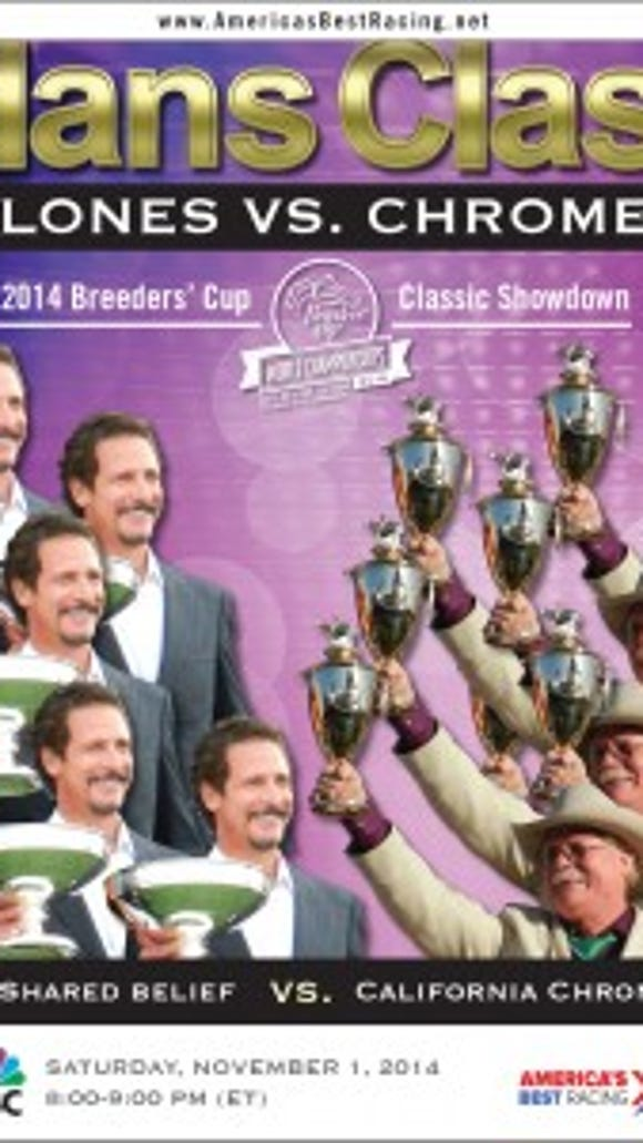 America's Best Racing's digital poster promoting the first meeting between unbeaten Shared Belief and Kentucky Derby and Preakness winner California Chrome.