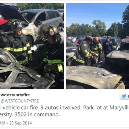 Firefighters say nine vehicles caught fire Tuesday at Maryville University.