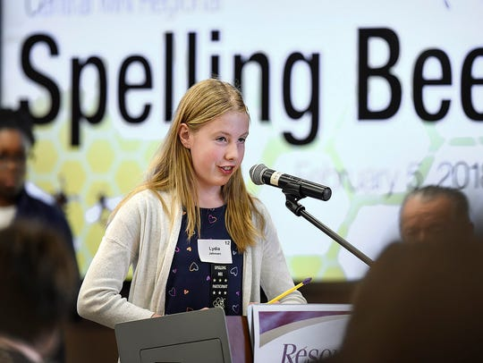 """Lydia Johnson, Sauk Rapids-Rice Middle School, successfully spells the word """"hygiene"""" to win the morning session of last year's Regional Spelling Bee at Resource Training & Solutions in Sartell. Johnson won the morning round of the 2019 spelling bee, too."""