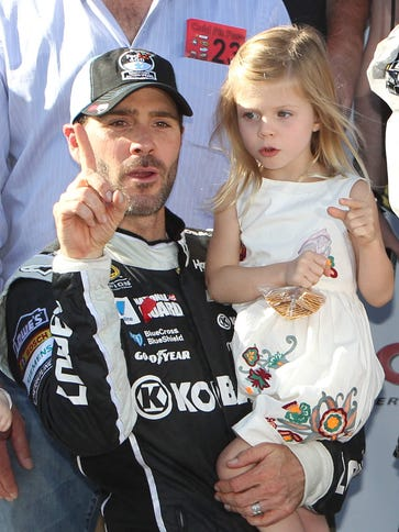 Jimmie Johnson with eldest daughter Genevieve on June