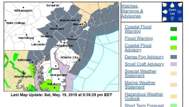 The National Weather Service in Mount Holly has issued a dense fog advisory.