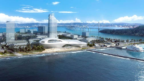 This concept design provided by the Lucas Museum of Narrative Art shows a rendering of their proposed museum on Treasure Island in San Francisco. In January George Lucas, the legendary filmmaker, is expected to decide whether he will put a museum for his extensive personal art collection in San Francisco or Los Angeles, after other attempts were upended by community opposition.