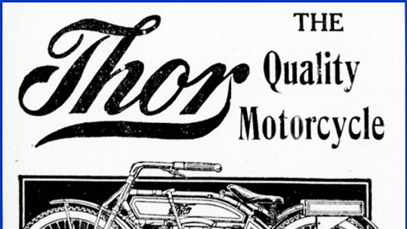 Illustrations of the two cylinder Indian and Thor motorcycles that raced at the York Fairgrounds in 1912