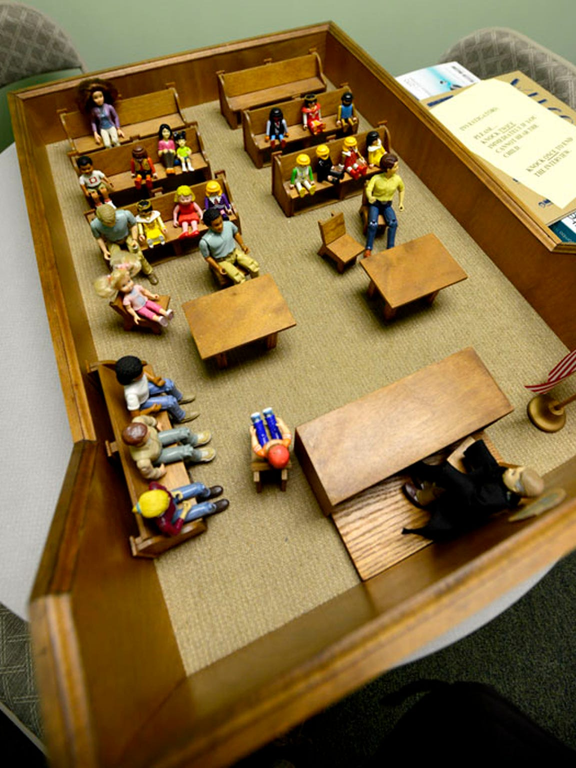 A courtroom can be an intimidating thing for children of abuse so a model courtroom is used to prepare kids for trial at the Gulf Coast Kid's House.