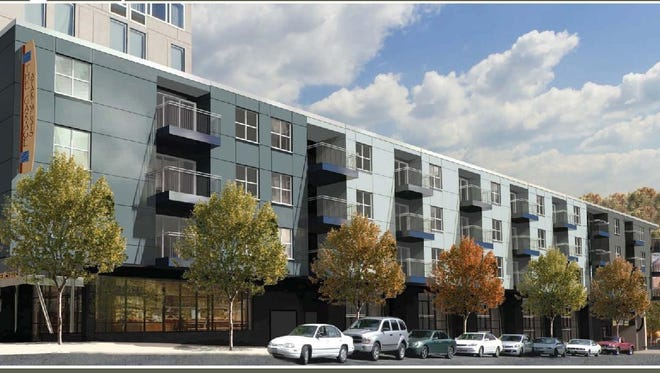 A rendering of the Garage Apartments.