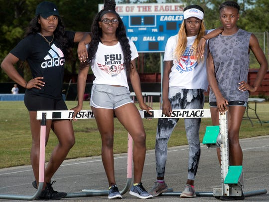 After finishing fourth at the Florida State Relays, L to R: Shaniya Sanders, Michaela Thompson, Nykeria Lee, and Catera Smith of the Pine Forest Girls Track team are looking forward to extending their winning season at Friday's Andrews Institute Track Meet in Gulf Breeze.