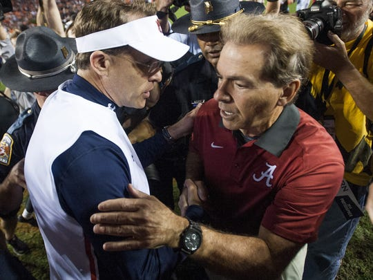 Auburn Head Coach Gus Malzahn and Alabama head coach