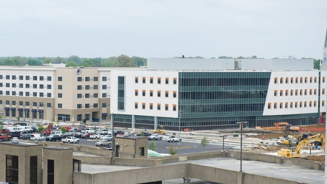 Construction on the Stone Family Center for Health Sciences is coming along in Downtown Evansville.