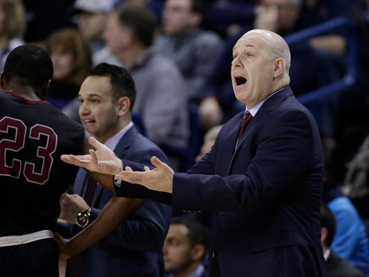 Santa Clara coach Herb Sendek gestures during the first half of the team's NCAA college basketball game against Gonzaga in Spokane, Wash., Saturday, Feb. 4, 2017. (AP Photo/Young Kwak)