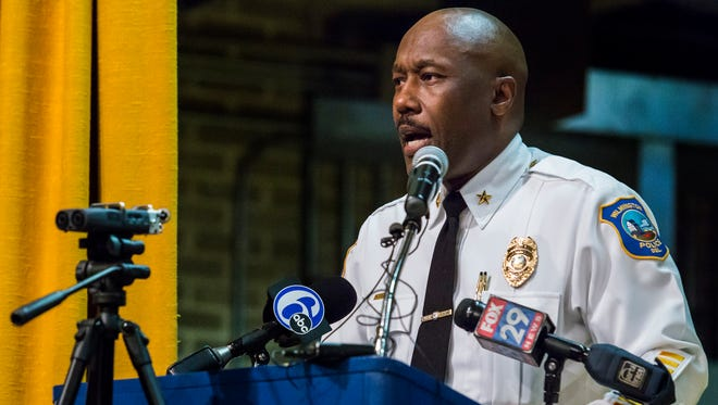 Wilmington Police Chief Bobby Cummings speaks at a community town hall meeting on the death of Howard High School of Technology student Amy Inita Joyner-Francis at Stubbs Elementary School on Monday evening.